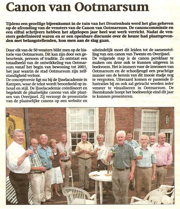 Krantenknipsel uit Dinkelland Visie 29 juli 2010
