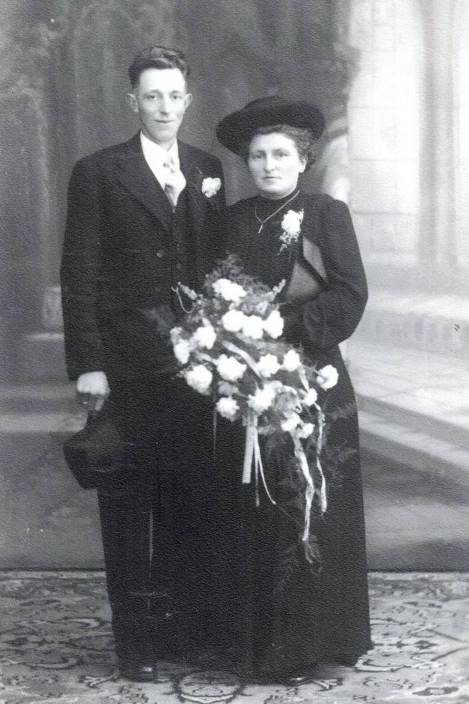 Trouwfoto Gerhardus Hendrikus Droste en Wilhelmina Gezina Kunne